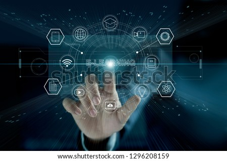 E-learning concept. Businessman touching a modern virtual interface with icon  E-LEARNING of the futuristic. Technology and network connection. Online education, e-learning business. #1296208159