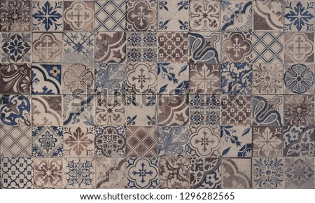 Old wall ceramic tiles patterns handcraft from thailand parks public #1296282565