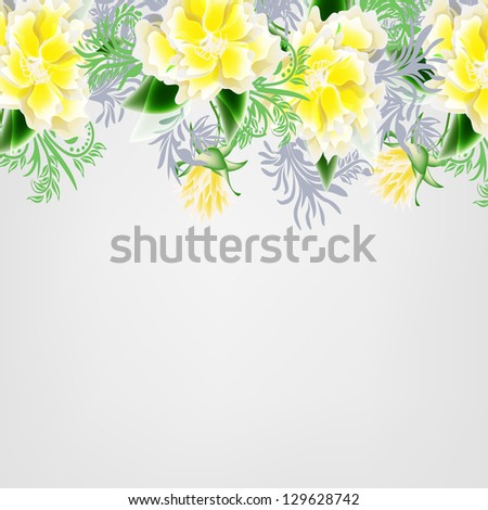 Wedding card or invitation with abstract floral background. #129628742