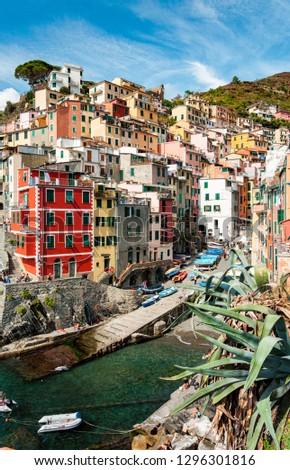view of village Riomaggiore from the sea - chinque terre Italy #1296301816