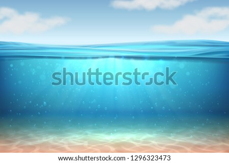 Realistic underwater background. Ocean deep water, sea under water level, sun rays blue wave horizon. Water surface 3D vector concept #1296323473