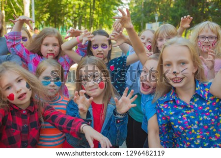 """Scary kids scaring are painted and on the street. Editorial. Russia, Yaroslavl region. """"Sahares"""" 13.07.2018 #1296482119"""