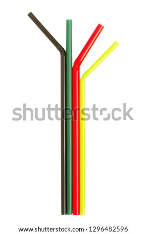 Colorful color straws isolated on white background #1296482596