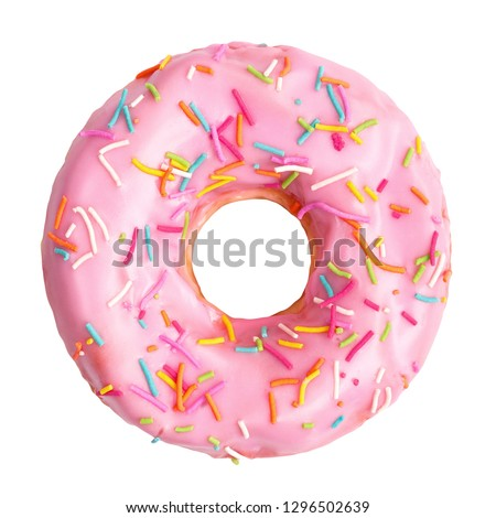 Pink donut decorated with colorful sprinkles isolated on white background. Flat lay. Top view #1296502639