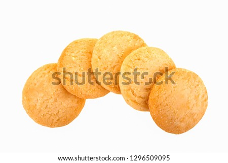 stacked short pastry cookies isolated on white background #1296509095