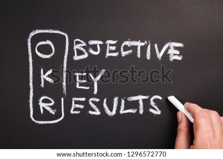 Hand writing text and acronym of OKR (Objective Key Results) on chalkboard #1296572770