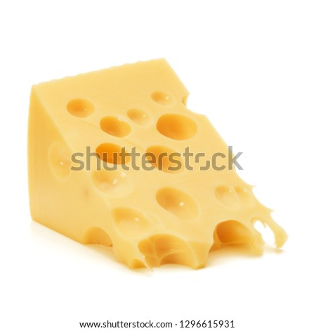 Cheese block isolated on white background cutout #1296615931