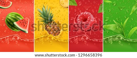 Juicy and fresh fruit. Watermelon, pineapple, raspberry, tea. Dew drops and splash. 3d vector realistic set. High quality 50mb eps Royalty-Free Stock Photo #1296658396