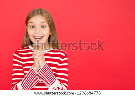 Believe in miracle. Child girl dreaming her wish come true. Miracle happens. Little girl smiling full of hope. My secret wish. Make a wish. Hope for the best. Girl hopeful excited face making wish. #1296684778
