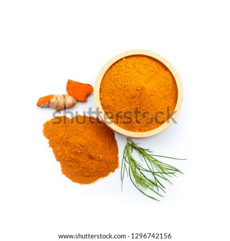 turmeric slice with powder turmeric  top view isolated on white background. #1296742156