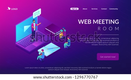 Business people watching online professional presentation on laptop. Online presentation, professional conference, web meeting room concept. Isometric 3D website app landing web page template #1296770767
