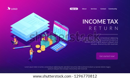 Businessmen and accountant filling and calculating financial document form. Tax form, income tax return, company tax payment concept. Isometric 3D website app landing web page template #1296770812
