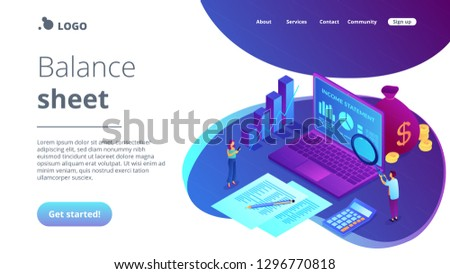 Financial analysts with magnifier and laptop counting income statement. Income statement, company financial statement, balance sheet concept. Isometric 3D website app landing web page template #1296770818
