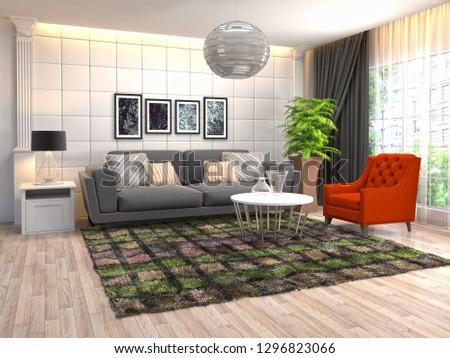 Interior of the living room. 3D illustration #1296823066