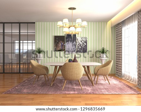 Interior dining area. 3d illustration #1296835669