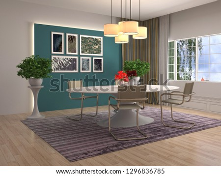 Interior dining area. 3d illustration #1296836785