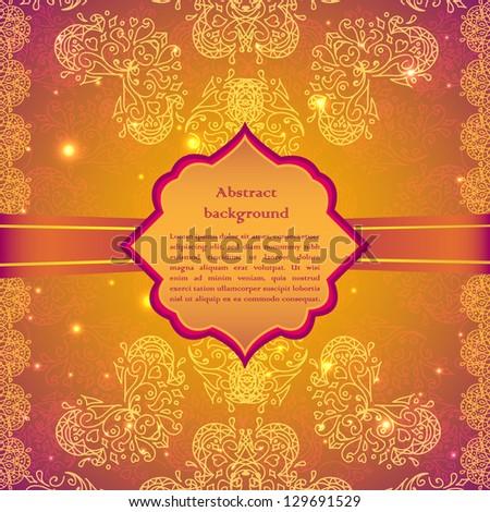 Vintage beige doodle ornament in Indian style background #129691529