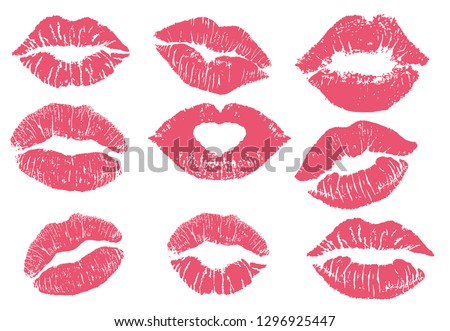 Lipstick kiss print isolated vector set. red vector lips set. Different shapes of female sexy red lips. Sexy lips makeup, kiss mouth. Female mouth. Print of lips kiss vector background.  #1296925447