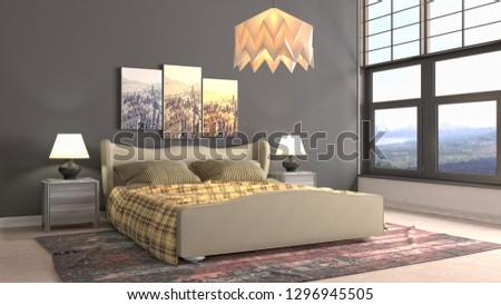Bedroom interior. 3d illustration #1296945505