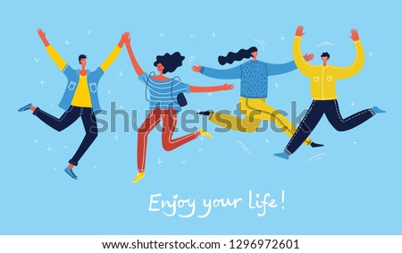 Concept of young people jumping on blue background. Stylish modern vector illustration card with happy male and female teenagers and hand drawing quote Enjoy your life Royalty-Free Stock Photo #1296972601