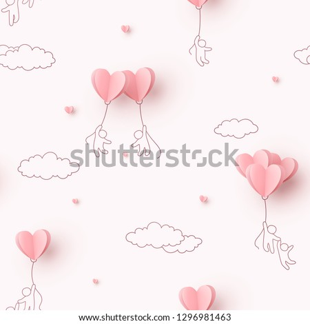 Valentines hearts balloons with people flying on pink background. Vector love seamless patern for Happy Mother's or Valentine's Day greeting card design.