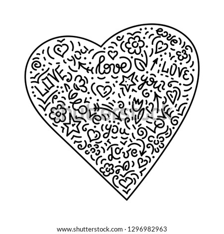 Doodle hand drawing. Heart. Background .Vector illustration #1296982963