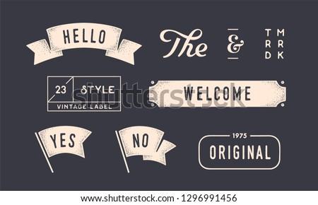 Set of vintage graphic. Design elements, linear drawing, vintage hipster style. Flag, ribbon, banner, border, style elements, the and ampersand. Set of vintage retro graphic. Vector Illustration #1296991456