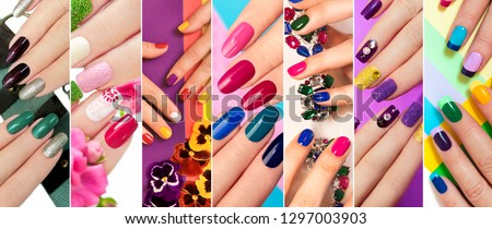 A diverse range of nail design.Solid color manicure with bright nail polishes.Collage by nail art. #1297003903