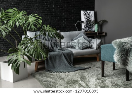 Green tropical plant in interior of room #1297010893