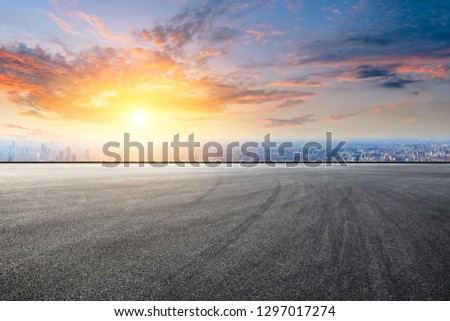 Empty asphalt road and city skyline in Shanghai,high angle view #1297017274