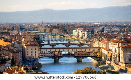 Panoramic view of Florence and Ponte Vecchio. #129708566