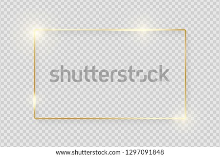 Gold shiny glowing vintage frame with shadows isolated on transparent background. Golden luxury realistic rectangle border. Vector illustration #1297091848
