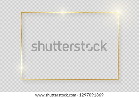 Gold shiny glowing vintage frame with shadows isolated on transparent background. Golden luxury realistic rectangle border. Vector illustration #1297091869