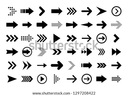 Arrows big black set icons. Arrow icon. Arrow vector collection. Arrow. Cursor. Modern simple arrows. Vector illustration #1297208422