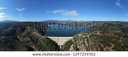 Aerial drone photo of famous lake and dam of Marathon or Marathonas, North Attica, Greece