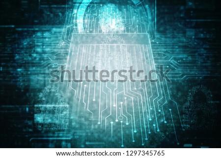 Fingerprint Scanning Technology Concept 2d Illustration #1297345765