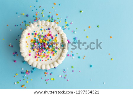 Birthday cake top view with colorful sprinkles #1297354321