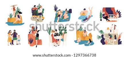 Collection of vacation activities or scenes - people hiking, swimming, sunbathing, diving, sightseeing during summer adventure trip or journey. Colorful vector illustration in flat cartoon style. #1297366738