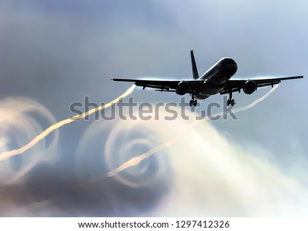 The turbulence of the clouds left by the plane during the flight. Royalty-Free Stock Photo #1297412326