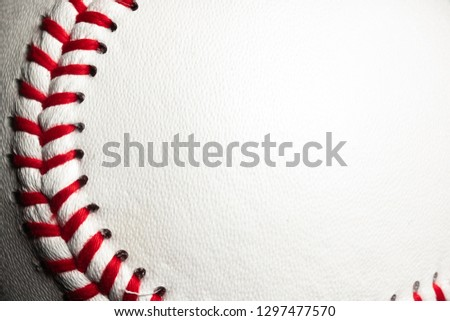 Round stitches on baseball with room for text space