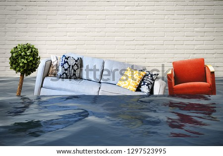 Flooded living room Royalty-Free Stock Photo #1297523995