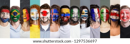 Collage of sport fans faces painted into various football countries national flags. Sports fan support, faceart concept