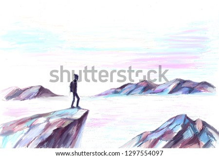 mountains in the fog and tourist hipster traveling with a backpack alone silhouette illustration #1297554097