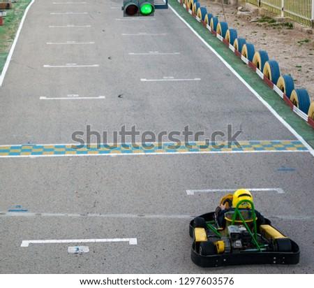 Children kart racing or karting of motorsport road racing #1297603576