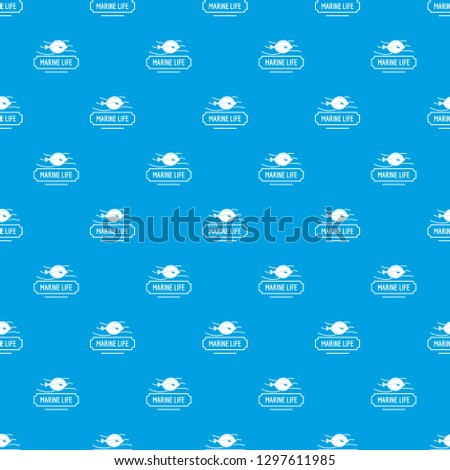 Marine life pattern vector seamless blue repeat for any use #1297611985