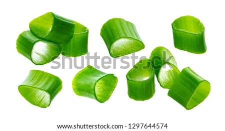 Chopped chives, fresh cut green onions isolated on white background with clipping path, macro, closeup #1297644574