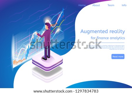 Isometric Augmented Reality for Finance Analytics. Vector Banner Illustration Man Broker are Working Analytics Business Graph Finance Graph. Stock Trading in Online Financial Market