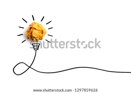 Creative idea, Inspiration, New idea and Innovation concept with Crumpled Paper light bulb on white background.  #1297859626