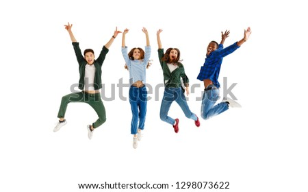 group of cheerful young people men and women multinational isolated on white background #1298073622
