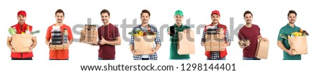 Collage of courier with orders on white background. Food delivery #1298144401
